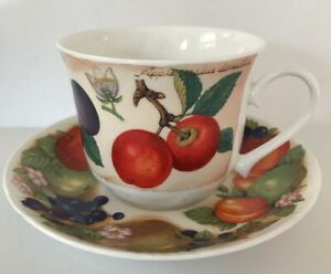2x New Bone China Coffee Cup Coffee Cup with Floral Decoration /& Red Trim 10x8cm
