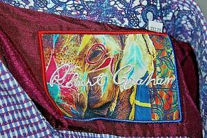 NEW MENS ROBERT GRAHAM PURPLE LINKED BUTTON UP DRESS SHIRT SIZE 3XLT