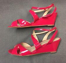 LIZ CLAIBORNE Fushia Hot Pink Wedge Buckle Strappy Sandals Size 10 M Shoes Women