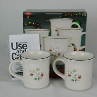 Pfaltzgraff Winterberry Set of 4 Coffee Mugs 12 oz Holly Christmas New In Box