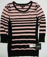 By & By Pullover Sweater Pink Black Striped Women's Size L New NWT