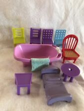 Fisher Price Loving Family Furniture Bath Tub Red Chair Towel Bed Lot