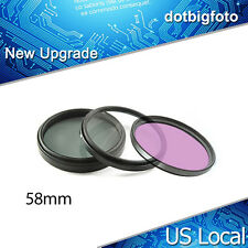 58mm 3 Piece Kit Digital UV FLD CPL Filter For canon nikon pentax dslr US Local