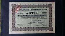 Aktie Woldemar Schmidt AG 100  RM 1926 Dresden
