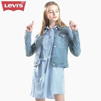 New Levis Womens Classic With Stretch Blue Button Jean Denim Trucker Jacket M