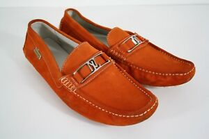 Natazzi Couture Men's Air Grant Penny Orange Suede Slip On Driving Shoes 11.5