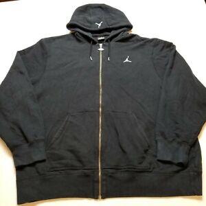 Jordan Sweatshirt Mens XL Black Hoodie Full Zipper Front Jumpman Oversized C14