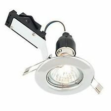 2 Aurora Polished Chrome Mains Voltage 240V 50W Fixed DOWNLIGHT & Bracket & Lamp