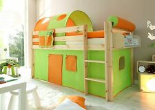 Lit mezzanine enfant MALTE en PIN naturel Tissus Vert-Orange