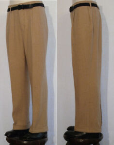 pantalon SWING rétro vintage trouser 1940 lainage à chevrons miel T50