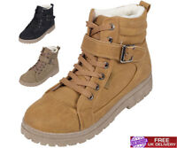 NEW LADIES ANKLE BOOTS GIRLS WOMENS HI TOP TRAINERS FUR WINTER FLAT SHOES SIZE
