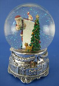 Christmas Winter Musical Snow Globe Santa Claus Dog Mirror Silver Base