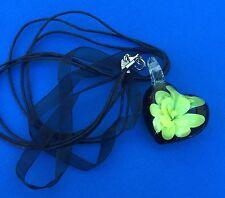 Yellow Flower Glass Pendant 3D Ribbon & Cord Necklace Women's - Aussie Seller!!