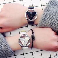 Fashion Retro Women Men Stainless Steel Leather Band Quartz Analog Wrist Watch E