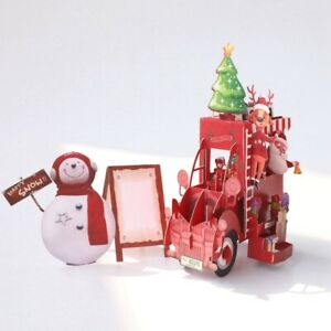 3D Christmas Card Table Decoration Pop Up Greeting Card with Envelope Xmas Card