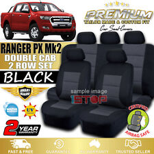 FORD RANGER PX Mk2 DOUBLE CAB BLACK SEAT COVERS 06/2015-2018 XL XLS XLT DUAL CAB