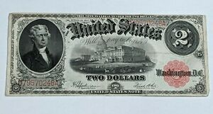 1917 series $2 Two Dollar Red Seal Large Size Currency Note Bill
