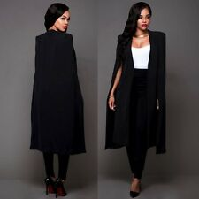 Women Poncho Trench Cardigan Long Suit Blazer Cloak Cape Coat OL Jacket Outwear
