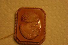 1930's pink celluloid cameo pin