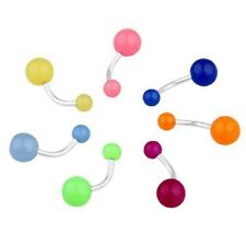 Useful Shiny Bending 7Pcs Glow In The Dark Belly Navel Bars Rings Body Piercing