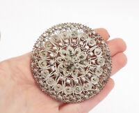 925 Sterling Silver - Vintage Ornate Floral Filigree Round Brooch Pin - BP5259