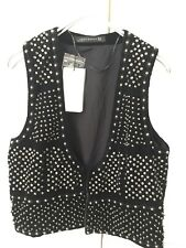 NEW Zara Women Black Velvet Sequin Pewter Stud  Open VEST  Size M
