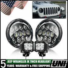7''inch LED Headlights 78W Bulb Black Replacement VW Beetle Classic + 2 x Pods