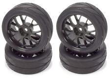 RC Car Tires 1/10 On-Road 12mm Black Mesh Wheels V Tread Rubber Tires (Set of 4)