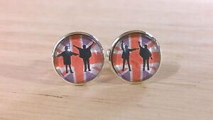 Retro Beatles help inspired union jack glass domed cufflinks, music,