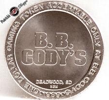 $1 SLOT TOKEN COIN B.B. CODY'S CASINO 1989 NCM MINT DEADWOOD SOUTH DAKOTA NEW