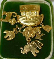 "Shiny Gold Tone 'Noah's Ark"" Dangle Elephant Cat Charm Rhinestone Pin Brooch"
