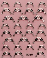 Nail Art 3D Decal Stickers Heart Tips with Rhinestones Valentine's Day B030