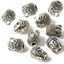 10 Pcs Alloy Buddha Head Bracelets Connector Charm Beads Crafts Silver Tone