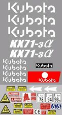 Decal Sticker set. KUBOTA KX71-3 Mini Digger Pelle Bagger Excavator