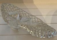 Vintage Crystal Clear Glass Cinderella Slipper Shoe