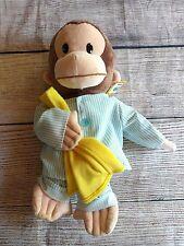 """Gund Curious George Plush Wearing Pajamas & Holding Blanket 17"""" NWT"""