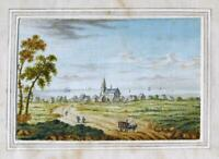 COASTAL TOWN & CHURCH c1785 Original Painting VIEW TOWARDS THE SEA