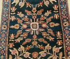 ANTIQUE SAROUKK FLORAL HAND KNOTTED BLUE WOOL ORIENTAL RUG CLEANED  2' x 5'