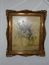 Antik altes Stillleben Ölgemälde Blumen im Prunkrahmen signiert Bild Gemälde