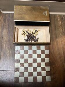 1940s? antique drueke magnetic chess travel set inlaid wood box estate