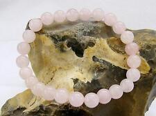 Women Natural Gemstone Bracelet Rose Quartz 8mm beads stretchable elasticated
