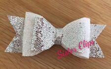 "Girls Handmade silver & white glitter 4"" bow hair clip"