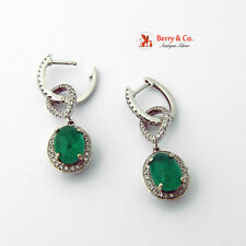 Emerald and Diamond Drop Earrings 14 K White Gold