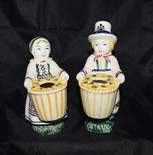 Vintage Royal Copenhagen Aluminia Faience Jus Denmark Vase Figurines Boy & Girl