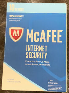McAfee Internet Security - 10 Devices 1 Year Subscription PC, Mac, iOS, Android