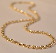 "PM91 22"" 14k Solid Yellow Gold Rope Twisted Design 4mm Thick Chain Necklace"