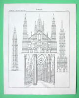 ARCHITECTURE Gothic Milan Brussels Malines Cathedral - 1825 Antique Print