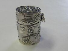 PAISLEY STERLING SILVER THIMBLE HOLDER/PILL  CASE - NEW