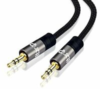 IBRA® 5M 3.5mm to 3.5 mm Male Jack Audio IPOD AUX MP3 Gold Cable-Gun Metal Range
