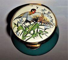 STAFFORDSHIRE ENAMEL BOX - EDWARDIAN LADY COUNTRY DIARY - BIRD & FLOWER STALK
